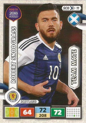 2018 - Panini Road to FIFA World Cup Russia Adrenalyn XL - N° SCO11 - Robert SNODGRASS (Ecosse) (UK Version)