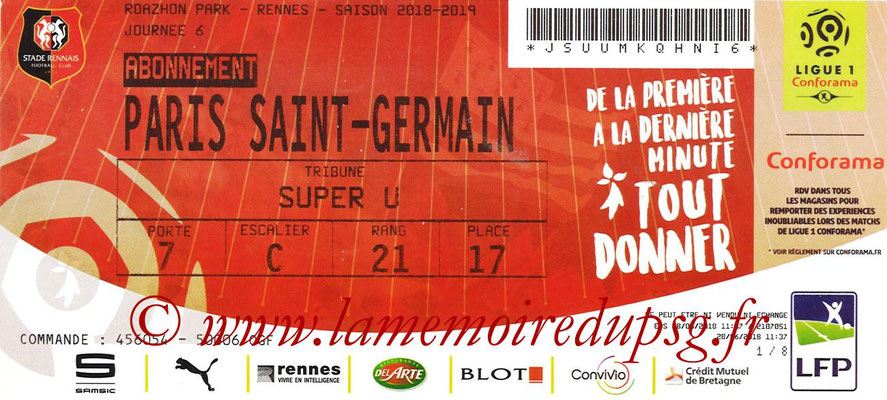 Ticket  Rennes-PSG  2018-19