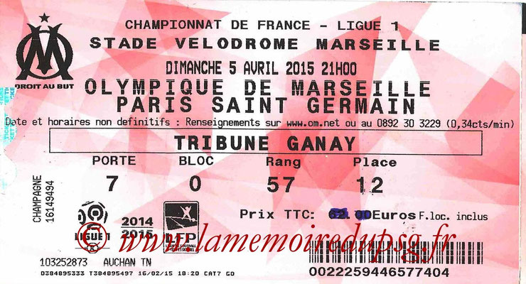 Tickets  Marseille-PSG  2014-15