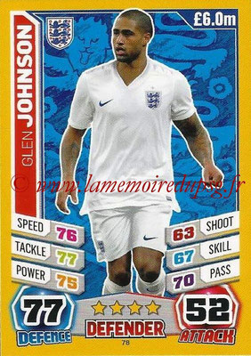 Topps Match Attax England 2014 - N° 078 - Glen JOHNSON (Angleterre)
