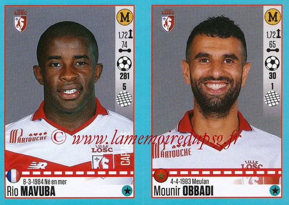 2016-17 - Panini Ligue 1 Stickers - N° 286 + 287 - Rio MAVUBA + Mounir OBADI (Lille)