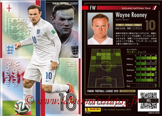 Panini Football League 2015 - PFL12 - N° 096 - Wayne ROONEY (Angleterre) (Bandiera)