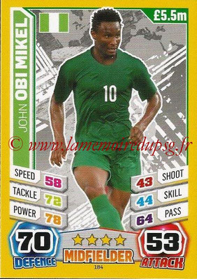 Topps Match Attax England 2014 - N° 184 - John OBI MIKEL (Nigéria)