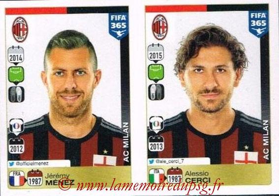 2015-16 - Panini FIFA 365 Stickers - N° 607-608 - Jérémy MENEZ + Alessio CERCI (Milan AC)