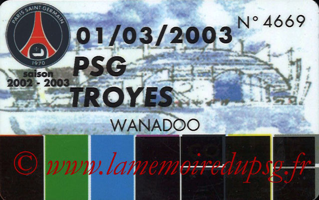 Badge Prestataire  PSG-Troyes  2002-03