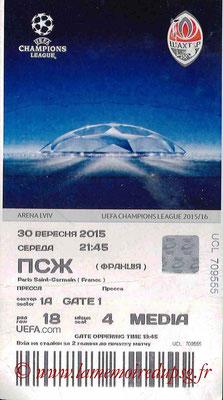 Ticket  Shakhtar Donesk-PSG  2015-16