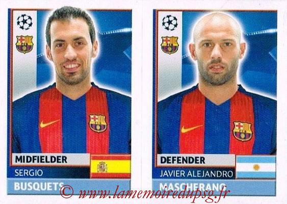 2016-17 - Topps UEFA Champions League Stickers - N° FCB 10-11 - Javier Alejandro MASCHERANO + Sergio BUSQUESTS (FC Barcelone)