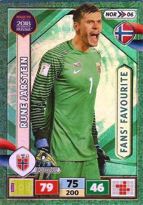 2018 - Panini Road to FIFA World Cup Russia Adrenalyn XL - N° NOR06 - Rune JARSTEIN (Norvège) (Fans' Favourite)