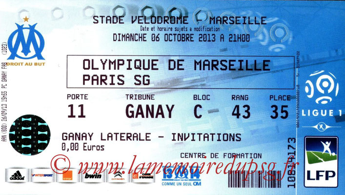 Ticket  Marseille-PSG  2013-14