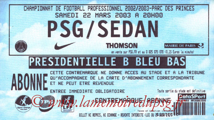 Tickets  PSG-Sedan  2002-03