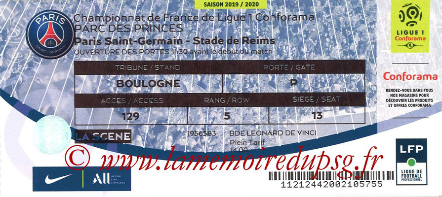 Tickets  PSG-Reims  2019-20