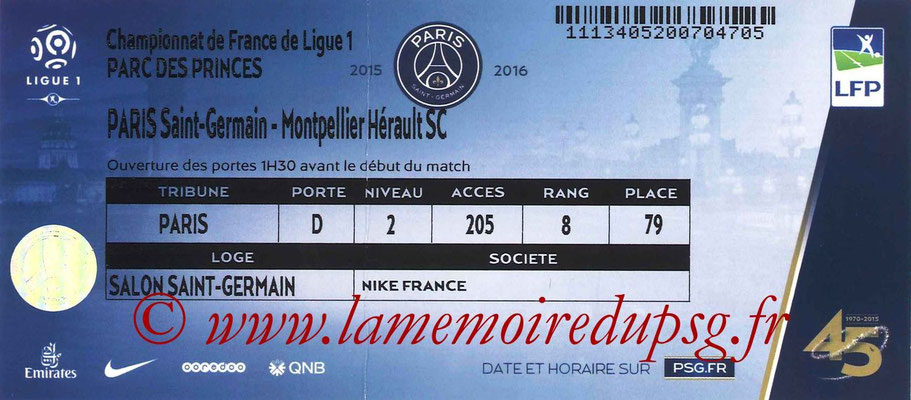 Tickets  PSG-Montpellier  2015-16