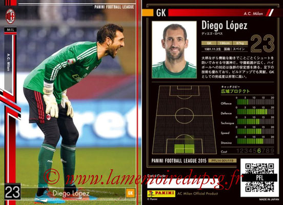 Panini Football League 2015 - PFL14 - N° 001 - Diego LOPEZ (Milan AC)