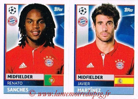 2016-17 - Topps UEFA Champions League Stickers - N° BMU 10-11 - Javier MARTINEZ + Renato SANCHES (FC Bayern Munich)