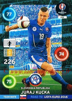 Panini Road to Euro 2016 Cards - N° 194 - Juraj KUCKA (République Slovaque)