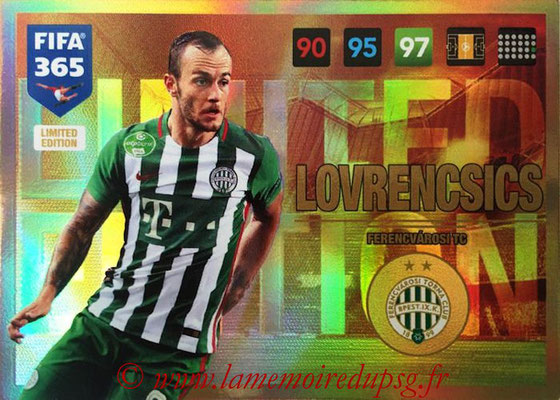 2016-17 - Panini Adrenalyn XL FIFA 365 - N° LE36 - Gergo LOVRENCSICS (Ferencvarosi TC) (Limited Edition)
