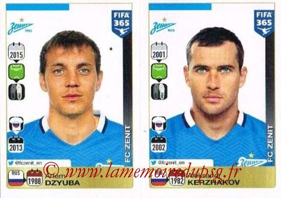 2015-16 - Panini FIFA 365 Stickers - N° 759-760 - Artem DZYUBA + Aleksandr KERZHAKOV (FC Zenit)