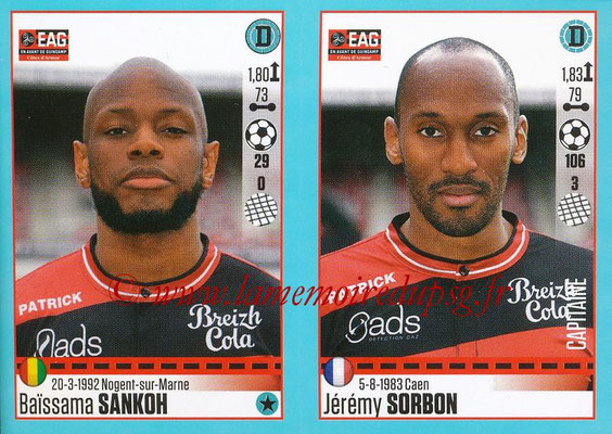 2016-17 - Panini Ligue 1 Stickers - N° 238 + 239 - Baïssama SANKOH + Jérémy SORBON (Guingamp)