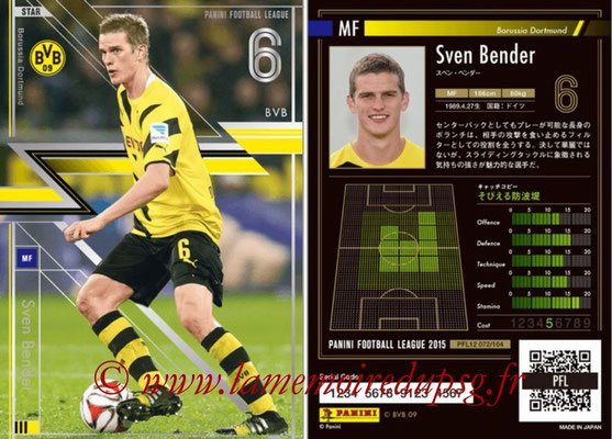 Panini Football League 2015 - PFL12 - N° 072 - Sven BENDER (Borussia Dortmund) (Star)