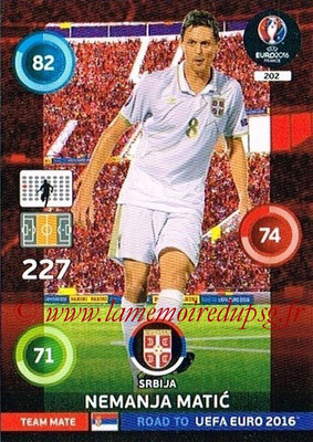 Panini Road to Euro 2016 Cards - N° 202 - Nemanja MATIC (Serbie)