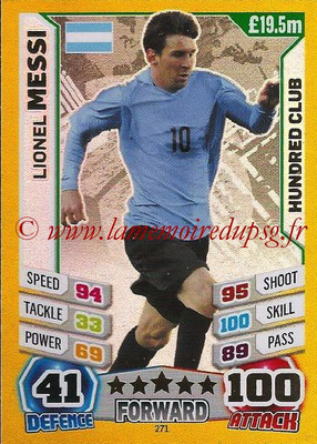 Topps Match Attax England 2014 - N° 271 - Lionel MESSI (Argentine) (Club des 100)