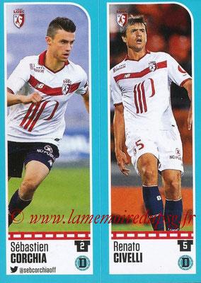 2016-17 - Panini Ligue 1 Stickers - N° 262 + 263 - Sébastien CORCHIA + Renato CIVELLI (Lille)