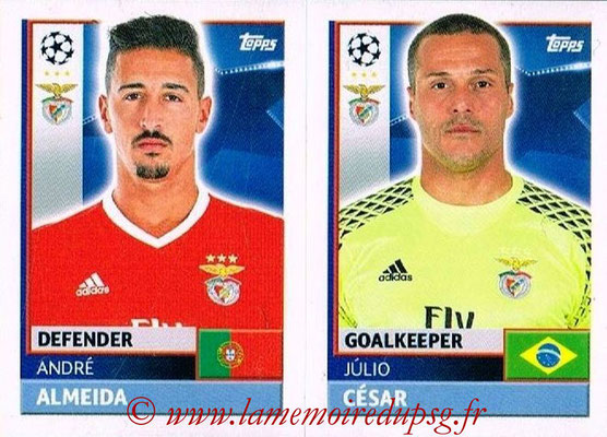 2016-17 - Topps UEFA Champions League Stickers - N° BEN 4-5 - Julio CESAR + André ALMEIDA (SL BenFica)