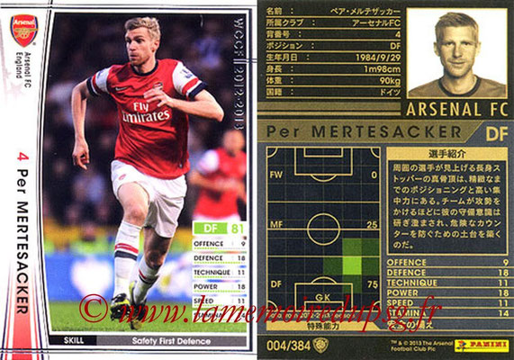 2012-13 - WCCF - N° 004 - Per MERTESACKER (Arsenal FC)