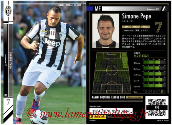 Panini Football League 2013 - PFL01 - N° 017 - Simone Pepe ( Juventus FC )