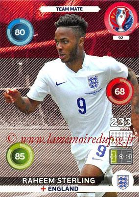 Panini Euro 2016 Cards - N° 092 - Raheem STERLING (Angleterre)