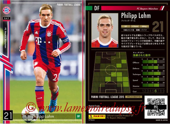 Panini Football League 2015 - PFL14 - N° 064 - Philipp LAHM (FC Bayern Munich)