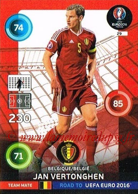 Panini Road to Euro 2016 Cards - N° 029 - Jan VERTONGHEN (Belgique)