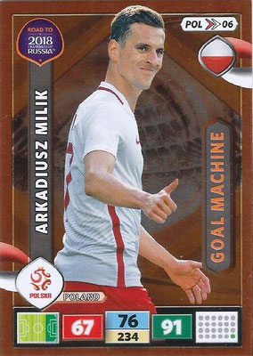 2018 - Panini Road to FIFA World Cup Russia Adrenalyn XL - N° POL06 - Arkadiusz MILIK (Pologne) (Goal Machine)