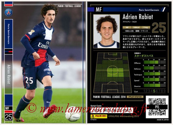 Panini Football League 2014 - PFL07 - N° 072 - Adrien RABIOT (Paris Saint-Germain)