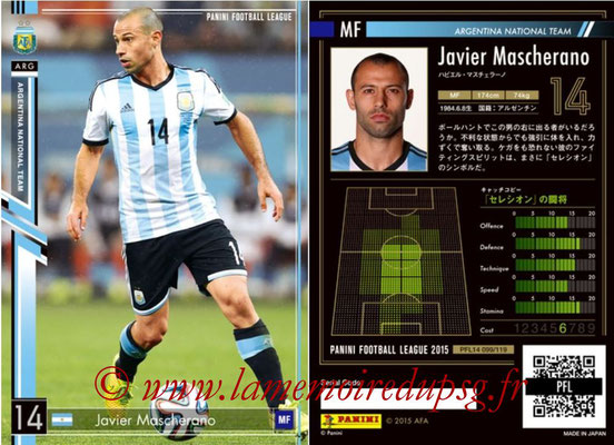 Panini Football League 2015 - PFL14 - N° 099 - Javier MASCHERANO (Argentine)