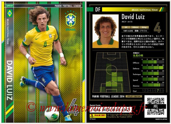 Panini Football League 2014 - PFL07 - N° 130 - David LUIZ (Bresil) (Super DF)