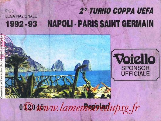 Tickets  Naples-PSG  1992-93
