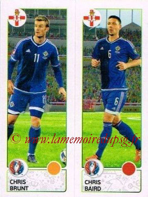 Panini Euro 2016 Stickers - N° 322 - Chris BRUNT + Chris BAIRD (Irlande du Nord)