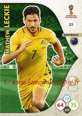 2018 - Panini FIFA World Cup Russia Adrenalyn XL - N° 025 - Mathew LECKIE (Australie)