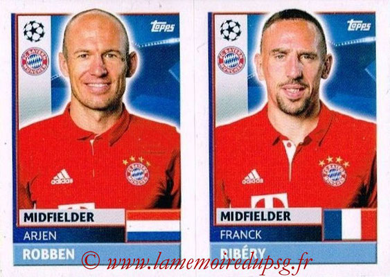 2016-17 - Topps UEFA Champions League Stickers - N° BMU 14-15 - Franck RIBERY + Arjen ROBBEN (FC Bayern Munich)