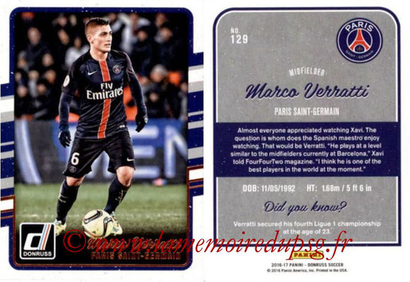 2016 - Panini Donruss Cards - N° 129 - Marco VERRATTI (Paris Saint-Germain)