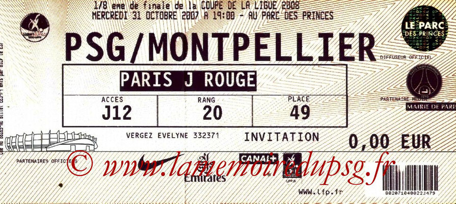 Tickets  PSG-Montpellier  2007-08