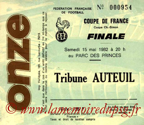 Ticket  PSG-Saint Etienne  1981-82