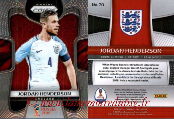 2018 - Panini Prizm FIFA World Cup Russia - N° 070 - Jordan HENDERSON (Angleterre)