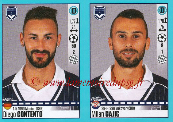 2016-17 - Panini Ligue 1 Stickers - N° 106 + 107 - Diego CONTENTO + Milan GAJIC (Bordeaux)