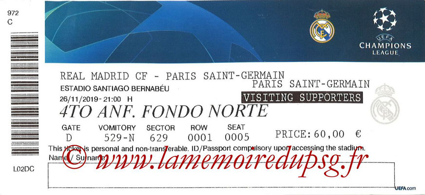 Ticket  Real Madrid-PSG  2019-20