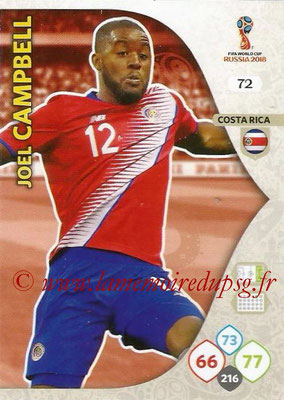 2018 - Panini FIFA World Cup Russia Adrenalyn XL - N° 072 - Joel CAMPBELL (Costa Rica)