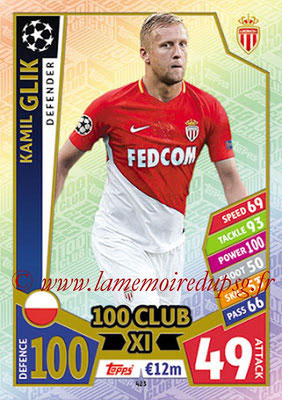 2017-18 - Topps UEFA Champions League Match Attax - N° 423 - Kamil GLIK (AS Monaco) (UCL Club XI)