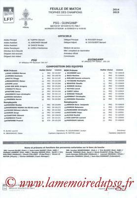 Feuille de match  Guingamp-PSG  2014-15