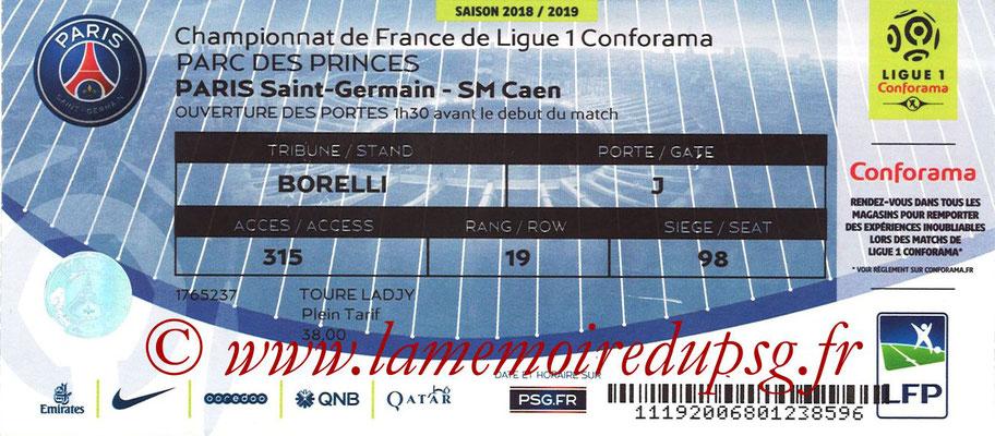 Tickets  PSG-Caen  2018-19